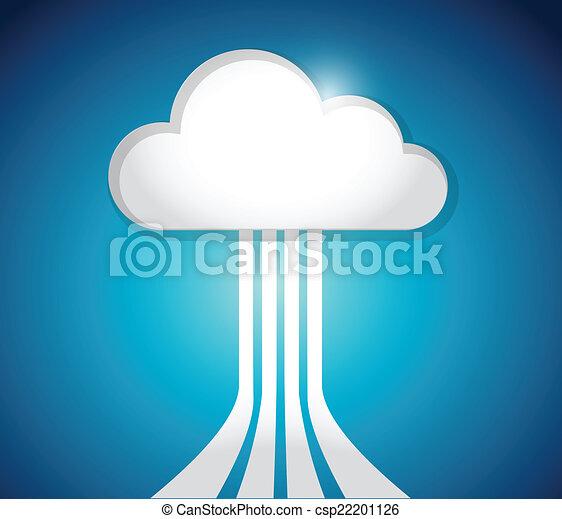connexion, lien, réseau, nuage, calculer - csp22201126