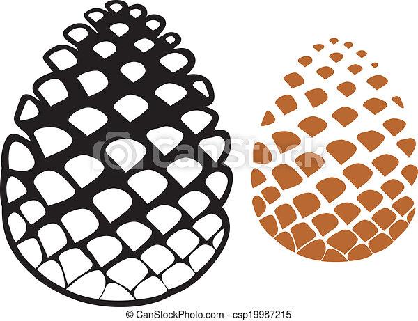 Clip art vectorial de cono rbol cono pino pia  cono pino