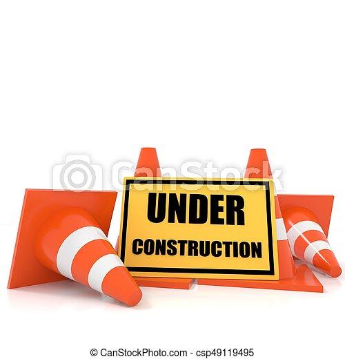 Banner en construcción con con conos de tráfico en blanco aislado en 3D - csp49119495