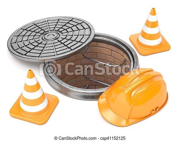 Manhole, conos de tráfico y casco de seguridad. 3D - csp41152125