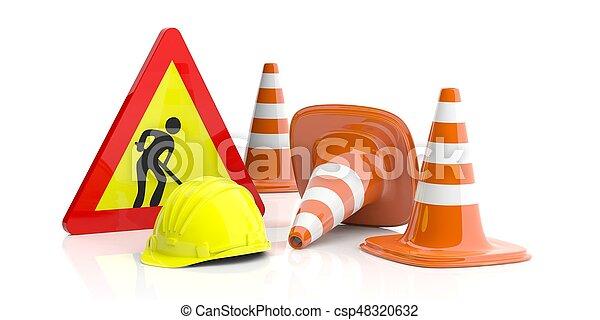 Conos de tráfico y firma y sombrero duro en fondo blanco. Ilustración 3D - csp48320632