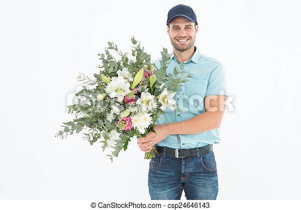 consegna, mazzolino, felice, presa a terra, uomo - csp24646143