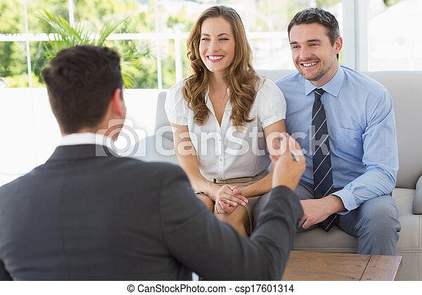 conselheiro, par, financeiro, sorrindo, reunião - csp17601314