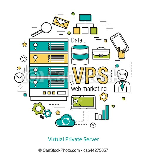 Consept vps virtual private server vector thin line art consept vps virtual private server csp44275857 ccuart Images