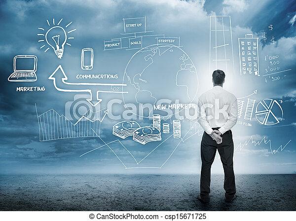 considérer, commercialisation, idée génie, homme affaires - csp15671725