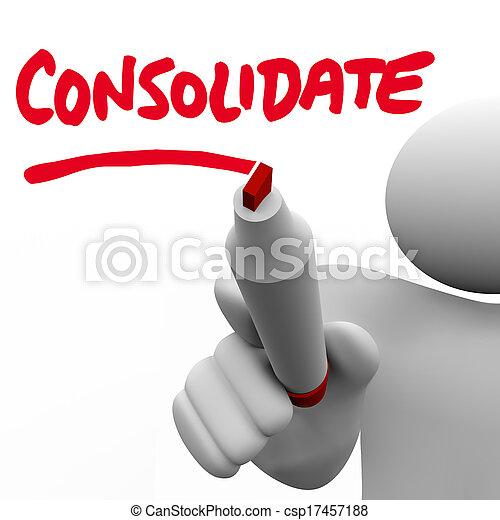 consolidate, kracht, woord, zakelijk, pen, grootere, bedrijven, twee, geschreven, plank, groepen, het combineren, teken, organisatie, man, of, illustreren - csp17457188