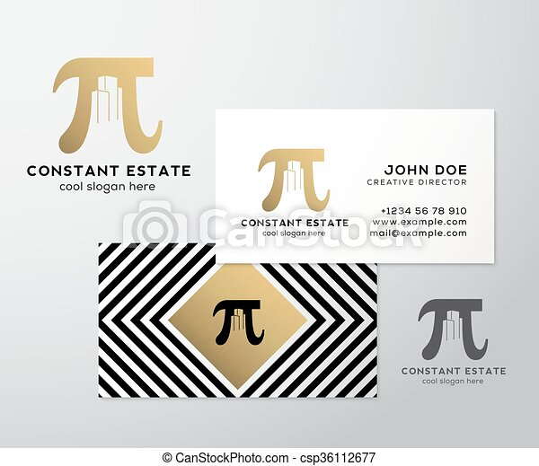 Constant estate abstract vector premium business card template pi constant estate abstract vector premium business card template pi sign with negative space buildings as a logo geometry background and gold foil flashek Image collections