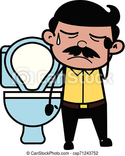 Constipation - Indian Cartoon Man Father Vector Illustration - csp71243752