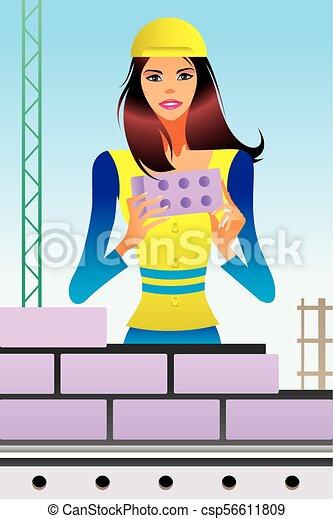 construção, cena, sob - csp56611809