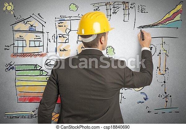 construção, engenheiro - csp18840690