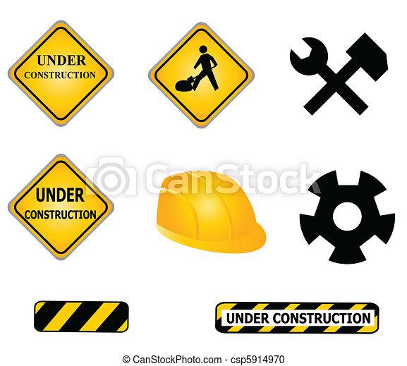 construção, ferramentas, sinais - csp5914970