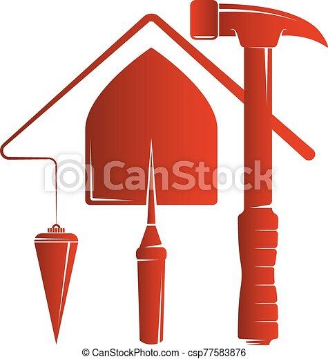 construcción, casa, herramientas, símbolo - csp77583876