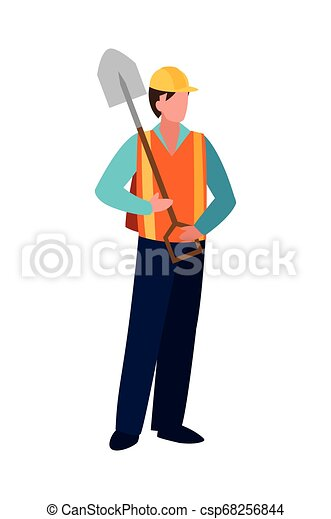 Trabajador de construcción con pala - csp68256844