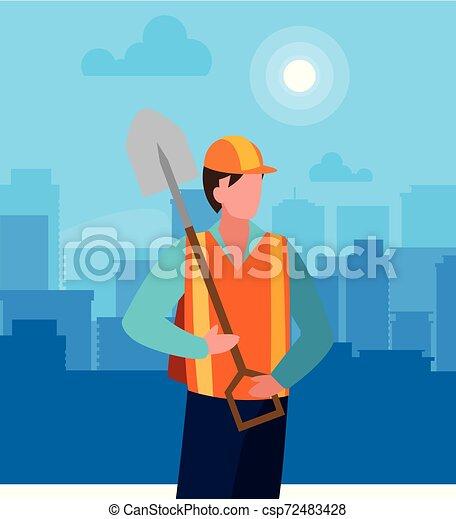 Trabajador de construcción con pala - csp72483428