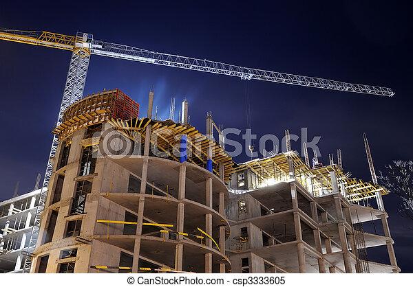 construcción edificio, sitio, noche - csp3333605