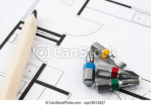 construcción, herramientas, plan - csp18014227
