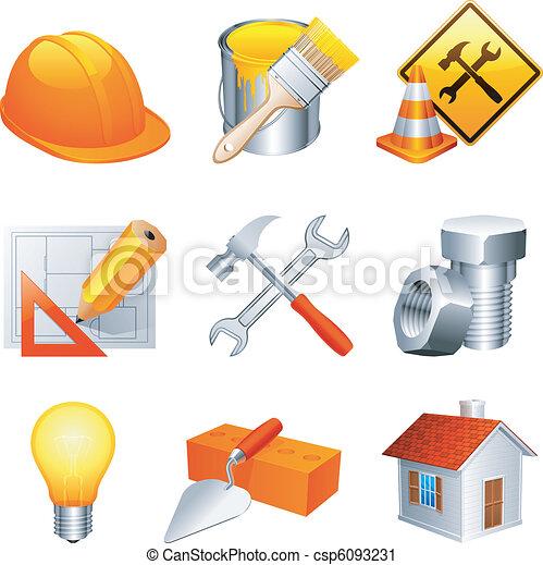 iconos de construcción. - csp6093231