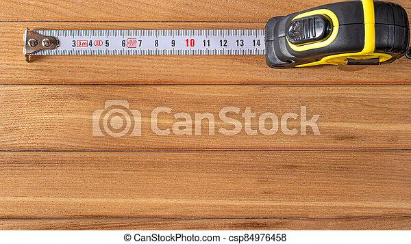 construcción, madera, centímetros, cinta, lugar, tools., texto, marrón, números, medición, bandera, fondo. - csp84976458