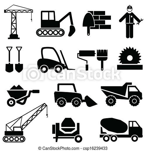 Construcción y iconos de maquinaria industrial - csp16239433
