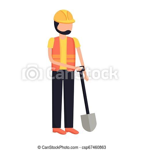 Construcción de trabajadores con pala - csp67460863