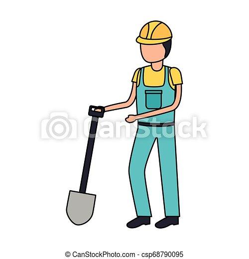 Construcción de trabajadores con pala - csp68790095