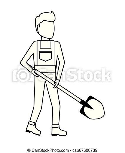 Un obrero con pala - csp67680739