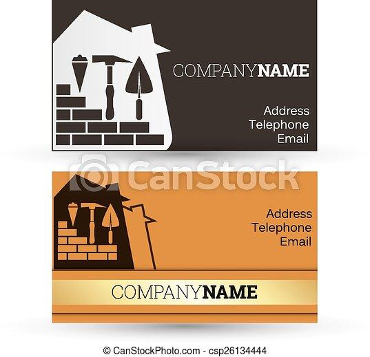 Construcción de tarjetas de negocios - csp26134444