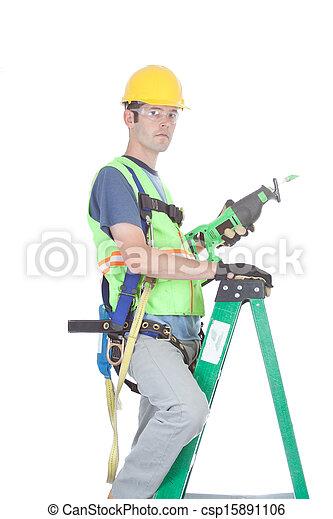 construction, échelle, travail, closeup - csp15891106