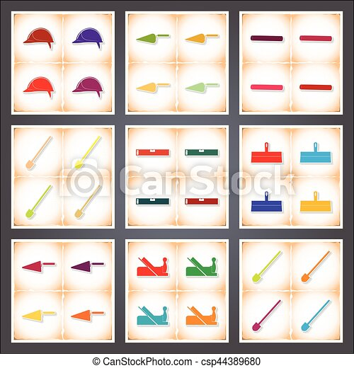 Construction. A set of flat stickers with shadow on old paper - csp44389680