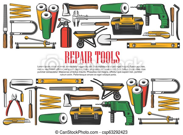 Construction And Repair Tools Vector Rpair And Construction Tools