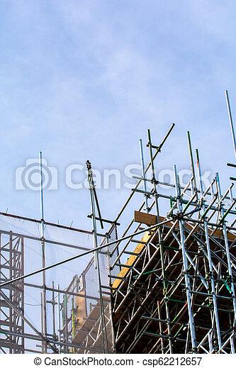 construction bâtiments, échafaudage, extérieur, site - csp62212657