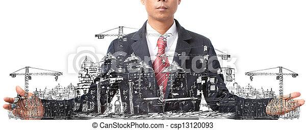 construction bâtiments, esquisser - csp13120093