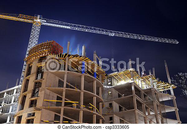 construction bâtiments, site, nuit - csp3333605