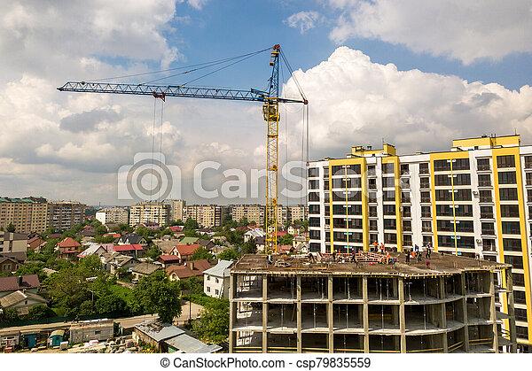 construction bâtiments, sous, grand, fonctionnement, ouvriers, city., cadre, appartement, béton - csp79835559