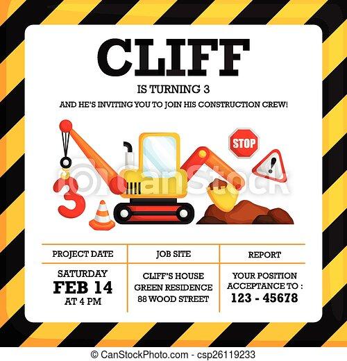 Construction birthday invitation vectors Search Clip Art