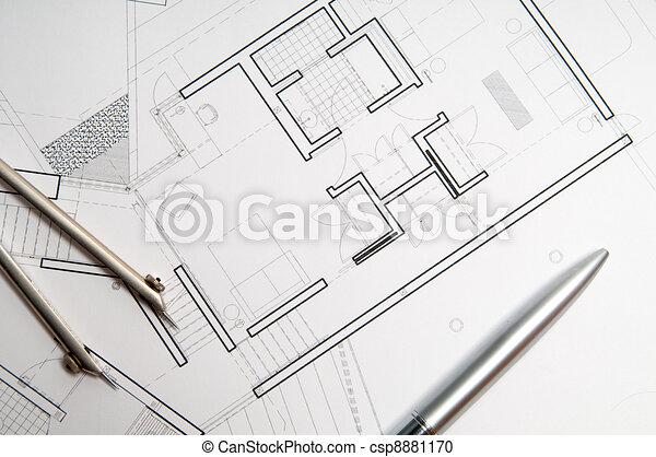Construction blueprint architecture blueprint tools stock construction blueprint csp8881170 malvernweather Choice Image