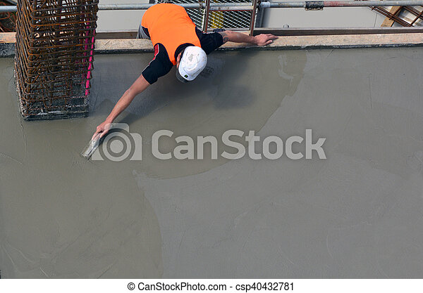 Construction builder leveling cement manually - csp40432781