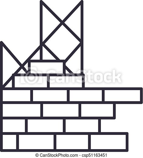 construction building brick wall vector line icon sign rh canstockphoto com brick wall clipart black and white brick wall clip art free