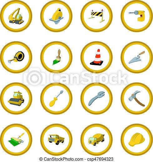 Construction cartoon icon circle - csp47694323