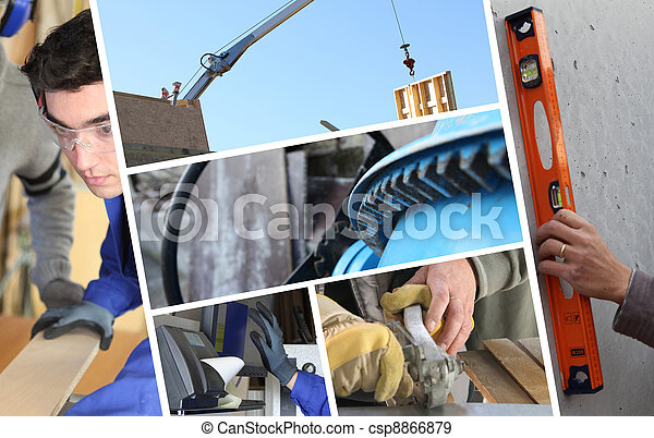 Construction collage with closeup details of carpentry - csp8866879