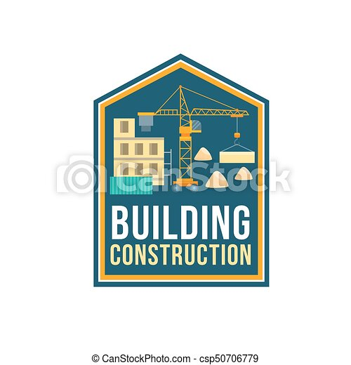 Construction Company Badge With Building Site Construction Company