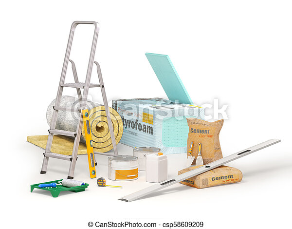 Construction concept  Polystyrene insulation boards, mineral wool,  stepladder, measuring instruments,cement sack with masonry trowel and  spirit level
