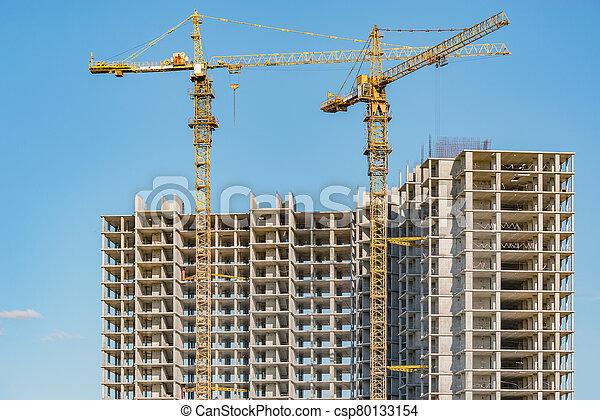 construction, construction., vue, logement, site - csp80133154