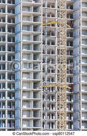 construction, construction., vue, logement, site - csp80112547
