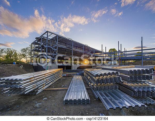 construction, coucher soleil, site - csp14123164