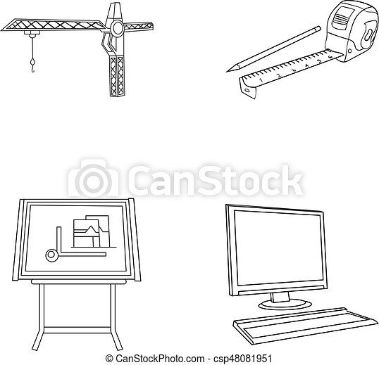 construction crane, measuring tape measure, drawing board, computer   architecture set collection icons