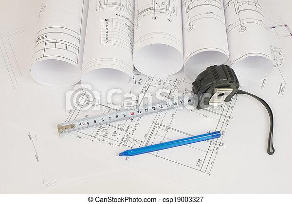 Construction drawings. Desk builder - csp19003327