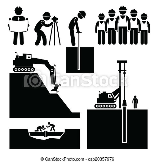 Construction Earthwork Worker Icons - csp20357976
