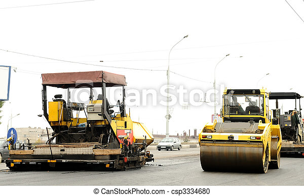 construction equipment at road building - csp3334680