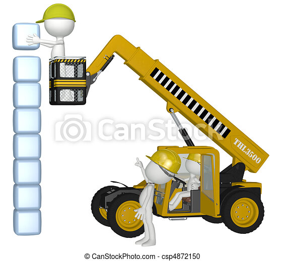 Construction Equipment People Building Cubes Stack Stock Illustration